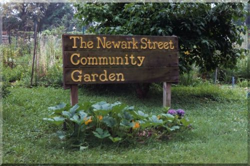 Newark Street Community Garden sign